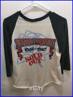 1980 Vintage Grateful Dead Raglan Shirt M BERTHA/66-80 SOLD OUT KELLEY/MOUSE