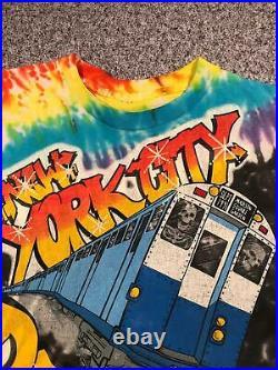 1991 Vintage GRATEFUL DEAD Tie Dye T Shirt Medium Single Stitch NEW YORK MSG
