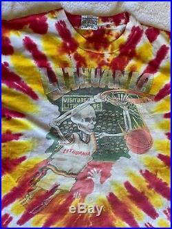 1992 Grateful Dead Lithuania basketball original T-shirt Olympics tie-dye XL