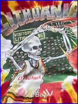 1992 Lithuania Basketball Grateful Dead Tie Dye Shirt Adult L Liquid Blue