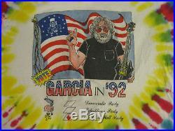 GRATEFUL DEAD Jerry Garcia in 92 Vote President VINTAGE 1992 90s T Shirt EX