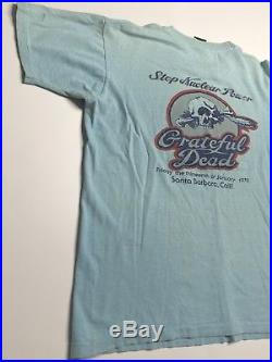 Grateful Dead 1978 Vintage Medium Shirt Stop Nuclear Power Blue Santa Barbara