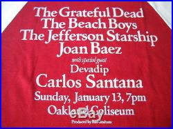 Grateful Dead Beach Boys Carlos Santana Vtg. Concert T-shirt January 13,1980-m