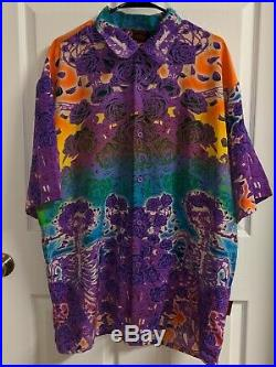 Grateful Dead By Dragonfly Button Up Shirt XXL Tie Dye Skulls Floral Hawaiian