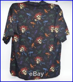 Grateful Dead David Carey Skull & Roses Dancing Skeleton Button Down Shirt Men L