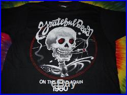 Grateful Dead On The Road Again Stanley Mouse Skull Cigar 1980 Concert T-shirt-m