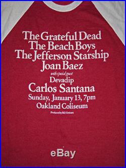 Grateful Dead RARE VTG L 3/4 Sleeve Shirt Santana Beach Boys Jefferson Starship