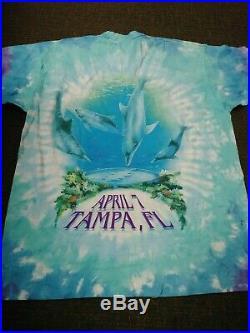Grateful Dead Shirt 1995 Tampa Florida Neptune Biffle Tie Dye 4/7/95 XL Vtg