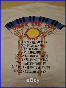 Grateful Dead Vintage Rock Concert T-shirt Summer Tour (1989) VG! Scarce