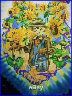 NWT old stock 2001 Grateful Dead Skeleton Farmer sunflowers Tie Dye T-Shirt XL