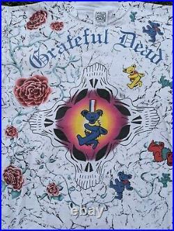 RARE 1991 Vintage Grateful Dead Dancing Bears & roses single stitch T Shirt XL