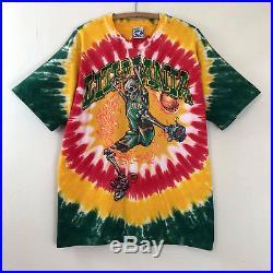 Rare 1996 Lithuania Basketball T Shirt Grateful Dead Liquid Blue Sz