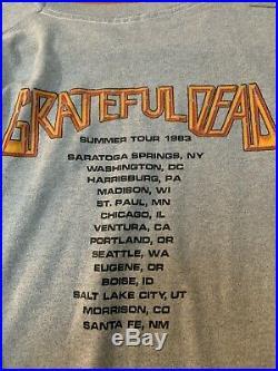 RARE VTG 1983 80s Grateful Dead Concert Tour Crew Shirt First In Last Out sz L