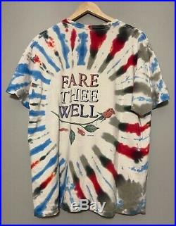 RARE Vintage 1995 Grateful Dead Fare Thee Well Tie Dye Tour T-shirt Size XL DEAD