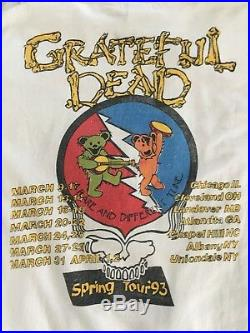 RARE Vintage Grateful Dead Concert Spring Tour 1993 Shirt Dancing Bears Skull
