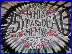 Rare Grateful Dead 25 Years Dead 1990 tour T Shirt Vintage SYF Black tie dye XL