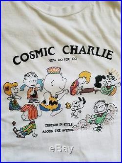 Rare Vintage 70s 80s Grateful Dead Peanuts Cosmic Charlie T-Shirt Size XL