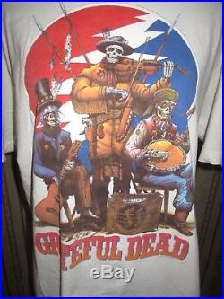 VINTAGE 90's men's LIQUID BLUE white GRATEFUL DEAD SKELETONS t-shirt / SIZE XL