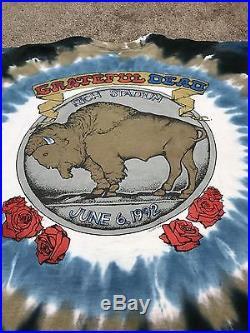 VINTAGE GRATEFUL DEAD 1992 BUFFALO NY TOUR SHIRT Rich Stadium TIE DYE XL