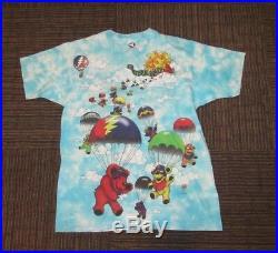 VTG 1993 Grateful Dead Liquid Blue Parachute bears Size XL 90s Rock Band T Shirt