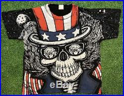 VTG 80s 90s GRATEFUL DEAD ALL OVER PRINT SKULL BIKER T SHIRT USA MADE L/XL