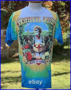 VTG 90s Liquid Blue 1998 Grateful Dead Keep It Green Tie Dye Band TShirt XL