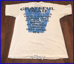VTG Grateful Dead Summer 1993 Tour T Shirt Original Rock Steal Your Face Rare L