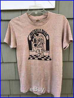 Vintage 1970s Tan Grateful Dead T Shirt Jester Hanes Thin VTG RARE