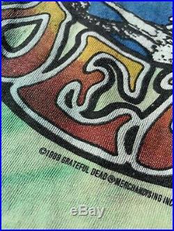 Vintage 1988 Grateful Dead Shirt Tie Dye Single Stitch Rap Tee Liquid Blue