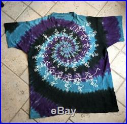 Vintage 1990 Grateful Dead T shirt men size XL fit Dancing Spiral Skeletons NR