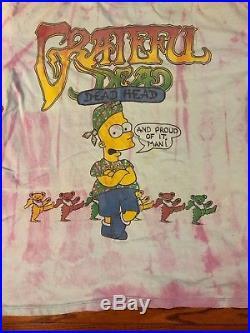 Vintage 1990s GRATEFUL DEAD Bart Simpson T-SHIRT Tie Dye Grateful EARTH size XL