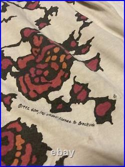Vintage 1992 Brockum Grateful Dead All Over Print Flower Skull Tee. Size XL