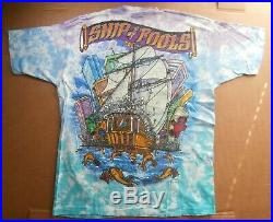 Vintage 1993 Grateful Dead Tie-Dye T-Shirt Ship of Fools Liquid Blue, Sz XL