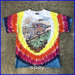 Vintage 1994 Grateful Dead Shirt Mens L Tie Dye Liquid Blue 90s