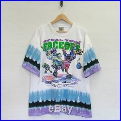 Vintage 1994 Grateful Dead Steal Face Off Liquid Blue Tie Dye T-Shirt 2XL 90s