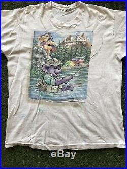 Vintage 1995 Grateful Dead LL Rain Summer Tour Shirt Liquid Blue Bears