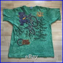 Vintage 1995 Grateful Dead Treads Mountain Bike Tie Dye T Shirt Liquid Blue XL