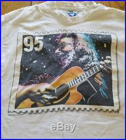 Vintage 1995 Jerry Garcia GRATEFUL DEAD Shirt XL Liquid Blue Memorial Stamp RARE