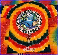 Vintage 1996 Lithuania Basketball Shirt Tie Dye Grateful Dead Liquid Blue XL