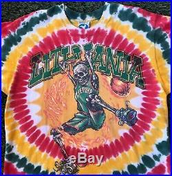 Vintage 1996 Lithuania Basketball Tie Dye Shirt Grateful Dead Liquid Blue Large