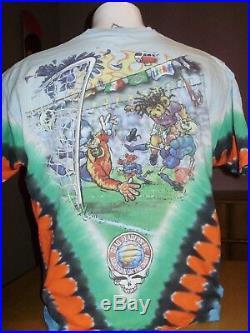 Vintage 1997 Grateful Dead Tie Dye Dead Headers Fc Soccer Liquid Blue Shirt XL