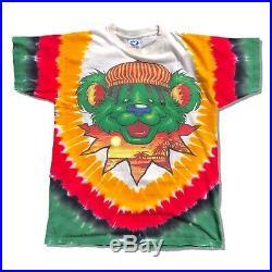 Vintage 1999 Grateful Dead Rasta Bear T Shirt Medium Liquid Blue Lithuania