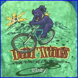 Vintage 90s GRATEFUL DEAD TREADS ALL OVER PRINT T-Shirt LARGE rock concert bike