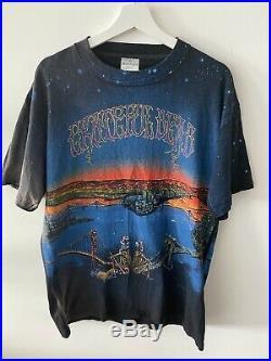 Vintage 90s Grateful Dead All Over Print T Shirt Brockum Large 1990