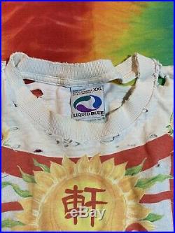 Vintage 90s Grateful Dead China Rider Tour Concert Shirt Tie Dye Liquid Blue XXL