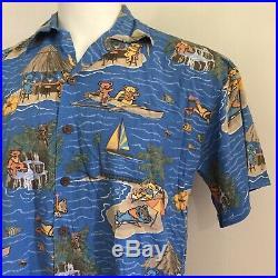 Vintage 90s Grateful Dead Mens Hawiian Shirt L Bears Tropical David Carey GDP