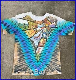 Vintage 90s Hippie Grateful Dead Psychedelic T Shirt Liquid Blue
