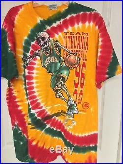 Vintage 96 Lithuania Basketball T Shirt Men XXL Liquid Blue Grateful Dead style