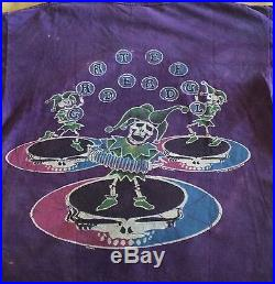 Vintage GRATEFUL DEAD Skeleton Jester Steal Your Face Purple Tie Dye GDM T-Shirt