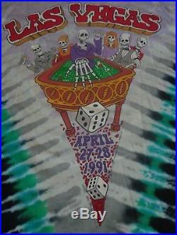 Vintage Grateful Dead 1991 Las Vegas Poker Chips Dice Roulette Tie Dye T-shirt L